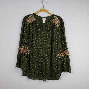 Chico's Green Boho Tunic w/ Velvet & Embroidery
